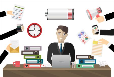 Overworked businessman work laptop computer low on energy vector flat illustration concept