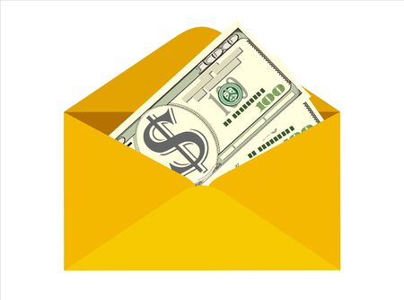 Dollar cash in envelope. Prize, money payroll, income. Send money. Hidden wages, salaries black payments, tax evasion. Vector illustration in flat style Illustration