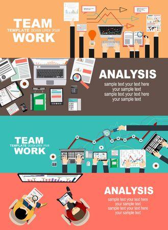Ensemble de concepts d'illustration à plat pour les affaires, la finance, le travail d'équipe, le conseil, la gestion, l'analyse, la carrière, l'agence pour l'emploi, la formation du personnel, l'argent, la technologie, le démarrage, la création. Vecteurs