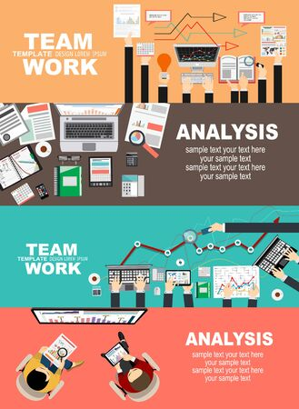 Set of flat design illustration concepts for business, finance, team work, consulting, management, analysis, career, employment agency, staff training, money, technology, startup, creative.