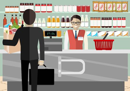 Supermarket store counter desk equipment and clerk in uniform ringing up grocery purchases. Flat style vector illustration. Vetores