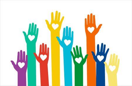 Des mains avec des coeurs. Concept de vecteur de bénévolat mains levées