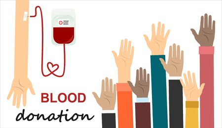 Blood donation concept. Vector illustrations flat design. Donor day. Medical background.