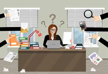 Person at work multitasking, stress in office. Business woman surrounded by hands with office things.