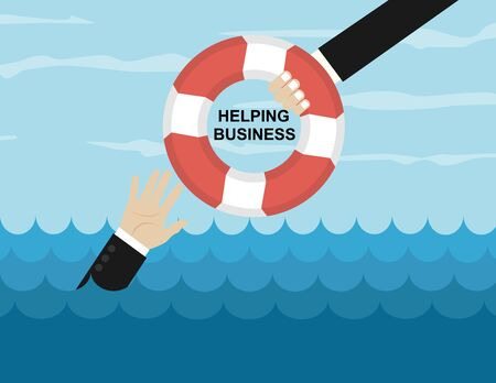 Helping Business to survive. Drowning businessman getting lifebuoy from another businessman. Business help, support, survival, investment concept. Vector colorful illustration in flat style