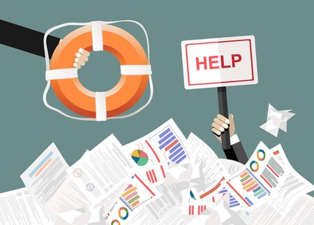 Helping Business to survive. Drowning businessmans getting lifebuoy. Business help, support, survival, investment concept. illustration in flat style