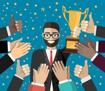 Businessman holding up a winning trophy. Business concept