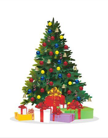 Albero di Natale e regali per le feste. Abete decorato con palline Illustrazione vettoriale. Vettoriali