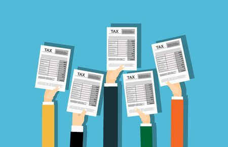 TAX form concept vector illustration of people showing fullfilled papers. Flat human hands hold annual fullfilled indiviual inmome tax forms Illustration
