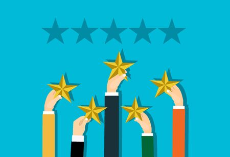 Hand of customer placing rating stars, vector concept