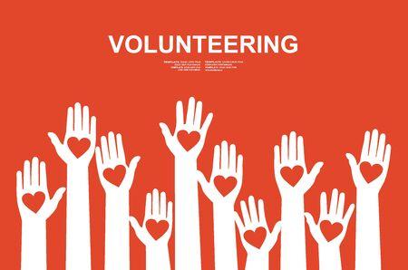 Hands with hearts. Raised hands volunteering vector concept Ilustração Vetorial