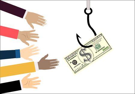 Les mains tendues pour obtenir de l'argent sur l'hameçon. Tromperie, piège sur le crochet et mains tendues pour obtenir de l'aide. Illustration dans un style plat.