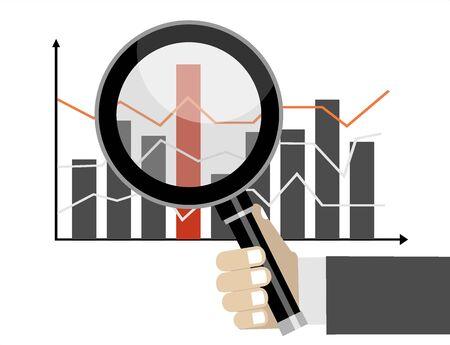 Concept d'analyse commerciale et boursière. Main tenant la loupe sur un graphique Vecteurs