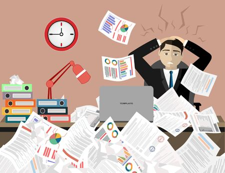 Stress at work concept flat illustration. Stressed out men in suit with glasses, in office at the desk. Modern design for web banners, web sites, printed materials, infographics. Flat vector.
