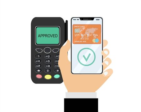 Hand with smartphone near POS terminal. Wireless, contactless or cashless payments, rfid nfc. Vector illustration in flat style Vektorové ilustrace