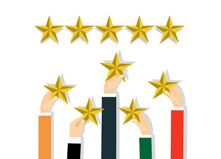 Hands of customers placing rating stars vector concept Illustration