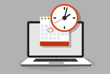 Kalender und Uhr auf Laptop-Bildschirm. Terminkonzepte. Moderne flache Design-Grafikelemente. Vektor-Illustration Vektorgrafik