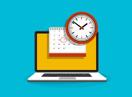 Calendar and clock on laptop screen. Schedule concepts. Modern flat design graphic elements. Vector illustration