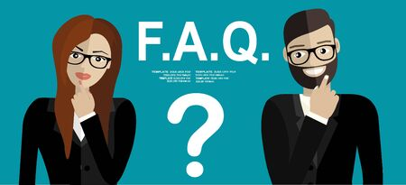 Young man and woman standing near question symbol and they needs to ask help or advice via live chat, help desk or faq. Flat concept vector illustration
