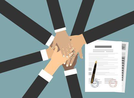People showing unity with their hands together. Crossed hands and agreement paper. Business team work cooperation and partnership. Vector illustration flat style. 版權商用圖片 - 136584627