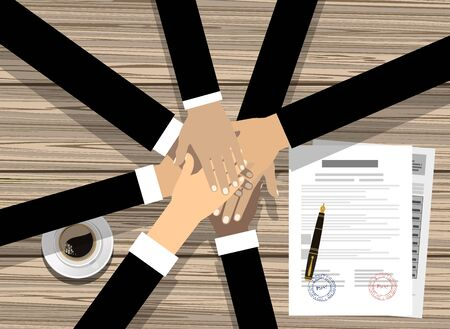 People showing unity with their hands together. Crossed hands and agreement paper. Business team work cooperation and partnership. Vector illustration flat style.