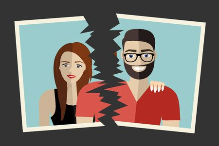 Break up Crisis relationship divorce. Man and woman tore up a group photo as symbol conflict, unhappy love. Vector illustration flat design. Parting couple. Vettoriali