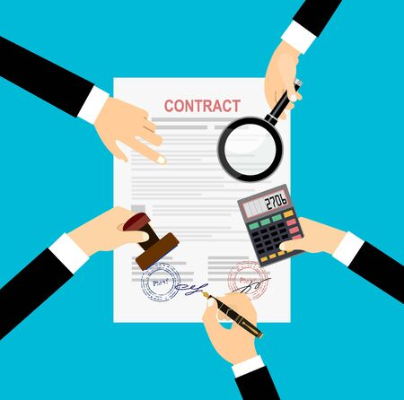 Preparing Business Contracts. Vector Image. Çizim