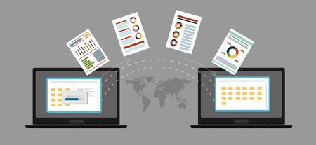 File transfer. Two laptops with folders on screen and transferred documents. Copy files, data exchange, backup, PC migration, file sharing concepts. Flat design graphic elements. Vector illustration Vektorové ilustrace