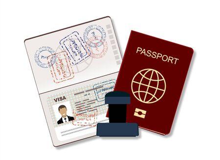 Passaporto con dati biometrici. Documento di identificazione e timbro Flat Vector Illustration Vettoriali