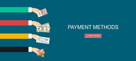 Méthodes de payement. Illustration vectorielle plane