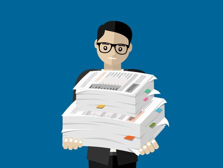 Businessman holds pile of office papers and documents. Documents and file Routine, bureaucracy, big data, paperwork, office. Vector illustration in Çizim