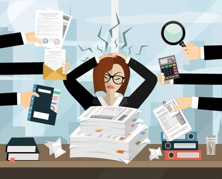 Stressed cartoon business woman in pile of office papers and documents. Stress at work. Overworked. Vector illustration in flat design