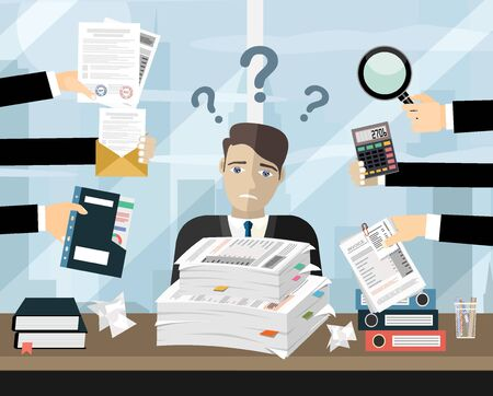 Person at work multitasking, stress in office. Business man surrounded by hands with office things. Illustration