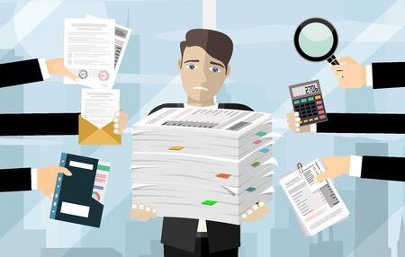 Geschäftsmann hält Stapel von Büropapieren und Dokumenten. Dokumente und Akte Routine, Bürokratie, Big Data, Papierkram, Büro. Vektorillustration im flachen Stil. Vektorgrafik