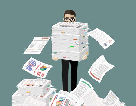 Geschäftsmann hält Stapel von Büropapieren und Dokumenten. Dokumente und Akte Routine, Bürokratie, Big Data, Papierkram, Büro. Vektorillustration im flachen Stil.