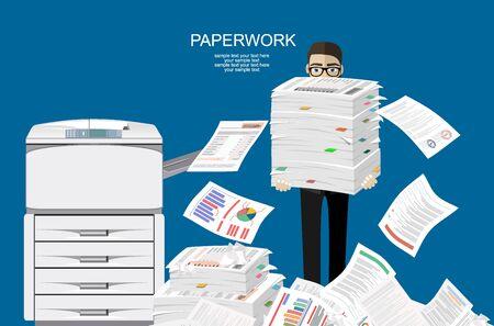 Geschäftsmann im Stapel von Papieren. Multifunktionsgerät für das Büro. Papierkram, Überarbeitung, Büro. Kopiergerät für Druckerkopien. Professionelle Druckstation. Abbildung flacher Stil