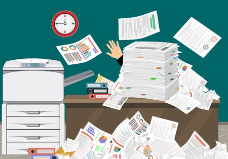 Businessman in pile of papers. Office multifunction machine. Paperwork, overwork, office. Printer copy scanner device. Proffesional printing station. illustration flat style