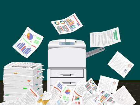 Office multifunction machine. Pile of paper documents. Paperwork, chaos in office. Printer copy scanner device. Proffesional printing station. illustration in flat style