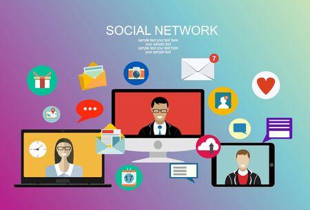 Social network, persone che si connettono in tutto il mondo. Illustrazione piana di vettore.