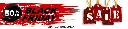 Black Friday Big Sale Holiday Special Offer Poster Concept Flat Vector Illustration