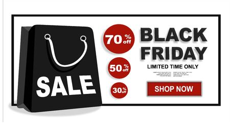 Black Friday Big Sale Holiday Special Offer Poster Concept Flat Vector Illustration