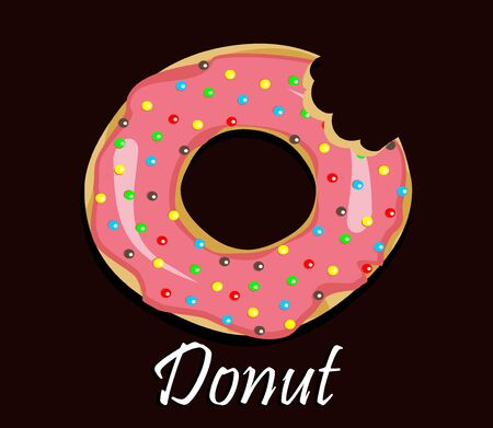 Donut avec glaçage rose. Icône de beignet, illustration vectorielle