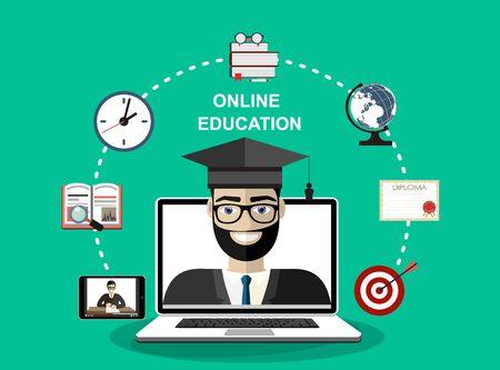 Online education concept. Vector illustration