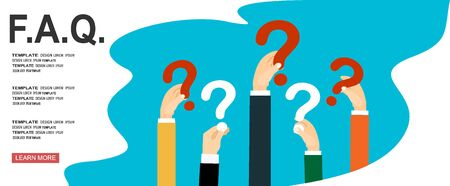 Human hands holding question mark, FAQ in flat design style, vector illustration