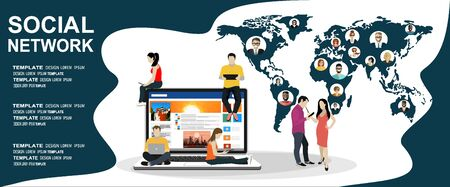 Social network website surfing concept illustration of young people using mobile gadgets such as smartphone, tablet pc and laptop part of online community. Flat design illustration concept.