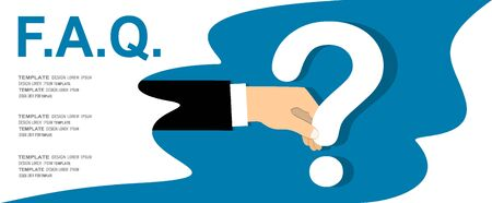 Human hand holding question mark, FAQ in flat design style, vector illustration