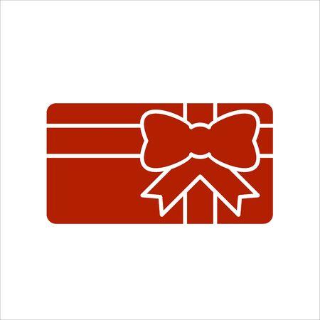 Icône de carte-cadeau. Présentez la carte avec le ruban et l'arc. Icône solide. Signe d'offre spéciale, carte promo.