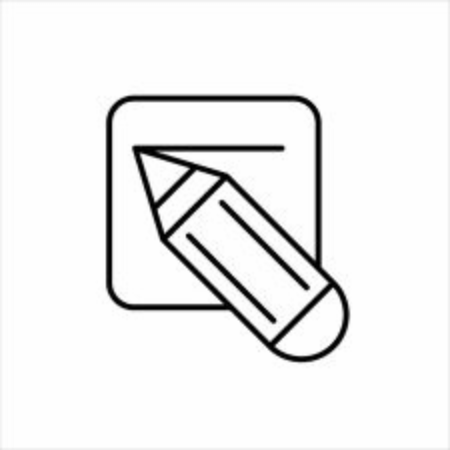 Pencil icon. Edit document sign. Line icon for website, infographic and banner. Change settings or edit card sign.