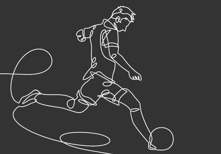 continuous line drawing of a male soccer player plays kicking a ball. vector