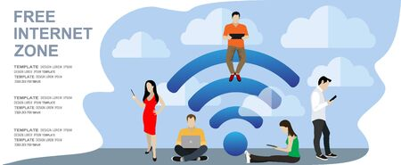 People in free internet zone working on laptops sitting on a big wifi sign. Free wifi hotspot, wifi bar, public assess zone, portable device concept. Vector illustration, template. Character design
